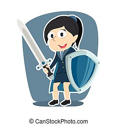 super businesswoman with sword and shield