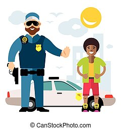 City Police. Law Enforcement. Flat style colorful Cartoon...