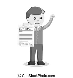 businessman showing paper contract black and white style