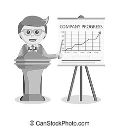 businessman presentation company progress black and white style