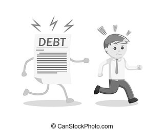 businessman run away from his debt black and white style
