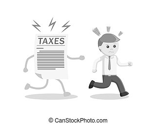 businessman run away from his taxes black and white style