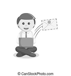 businessman sending email black and white style