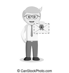 businessman showing email black and white style