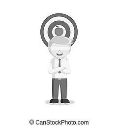 businessman using apple on his head as a target black and white style