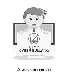 businessman giving stop bullying message from computer black...