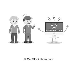 man protecting victim from cyber bullying black and white...