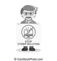 black and white man with stop cyber bullying poster black...