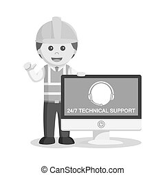 black and white technician with customer service logo on monitor black and white style