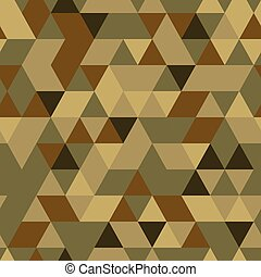 Khaki seamless pattern with triangular protection ornament -...
