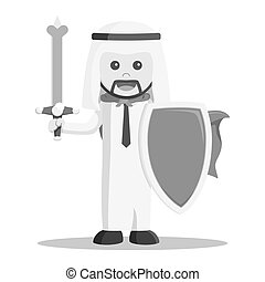 black and white Arabic business man ready for business war black and white