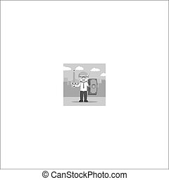 black and white businessman with sword pencil and shield dollar black and white style