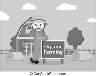 black and white man in front of barn with organic farm black and white style