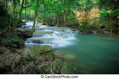 Waterfall in the forest at Huay Mae Kamin waterfall National...