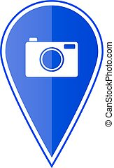 Blue map pointer with camera. Vector illustration