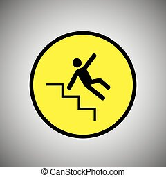 Slippery stairs sign. Falling man on stairs vector