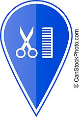 Blue map pointer with scissors and comb. Vector illustration