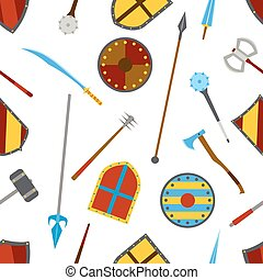 Ancient weapon and shields tool equipment pattern. Melee...