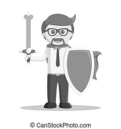 businessman stand with sword and shield black and white color style