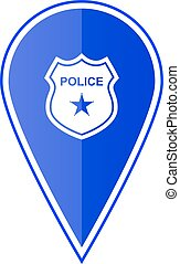 Blue map pointer with police location. Vector illustration -...