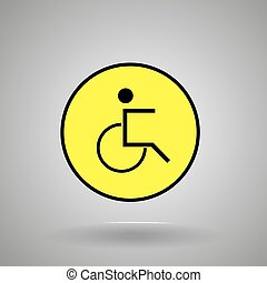 disabled person sign.man on  wheelchair symbol