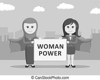 super businesswomen holding woman power board