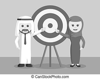 arab businessman and arab businesswoman pointing target black and white color style