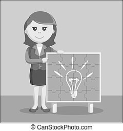 businesswoman with idea puzzle board black and white color style