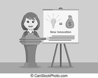 businesswoman giving presentation about her idea black and white color style