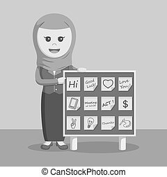 arab businesswoman with post it notes board black and white...