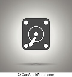 hard disc drive icon . Simple monochrome hard drive