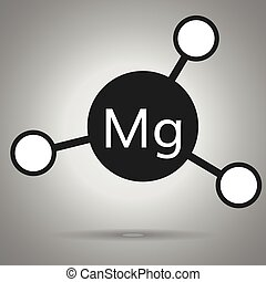 magnesium icon . Mg molecule with round attoms