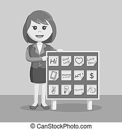 businesswoman with post it notes board black and white color...