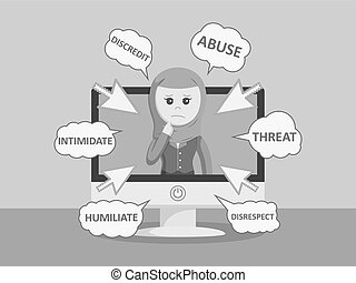 arab businesswoman get cyber bully black and white color...