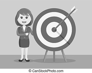 businesswoman with on target arrow black and white color style