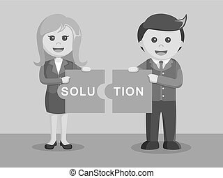 businessman and businesswoman combining solution puzzle black and white color style