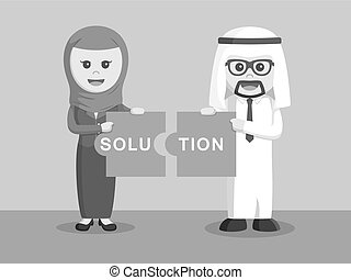 arab businessman and arab businesswoman combining solution puzzle black and white color style