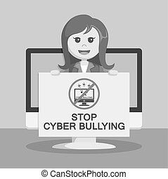 businesswoman with stop cyber bully board on monitor black...