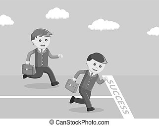 businessman racing to the success line black and white color style