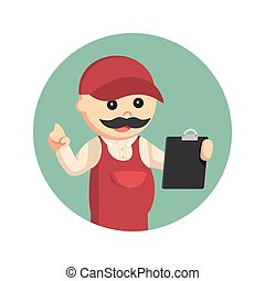 fat plumber holding clipboard in circle background