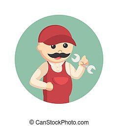fat plumber in circle background