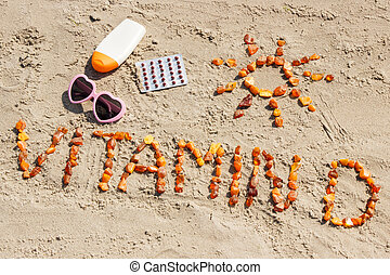 Medical pills, inscription vitamin D and accessories for...