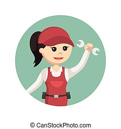 female plumber in circle background
