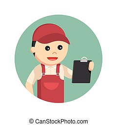 plumber holding clipboard in circle background