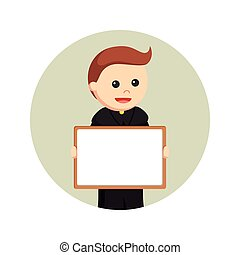 priest holding whiteboard in circle background