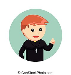 priest with pointing finger in circle background