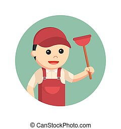 plumber holding toilet plunger in circle background