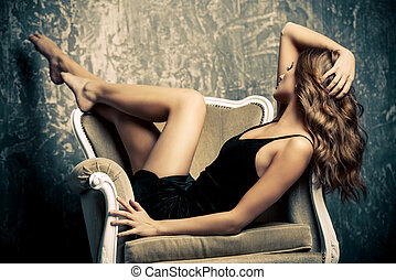 seductive girl - Fashion shot of a beautiful young woman in...