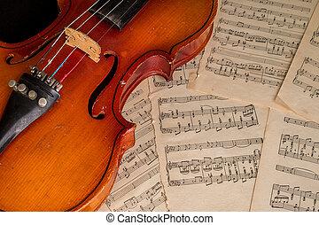 violin, gammal, ark, lögnaktig, musik
