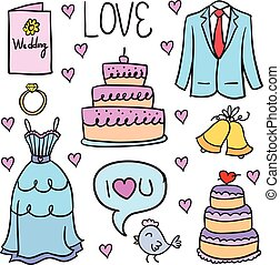 Doodle of wedding party colorful